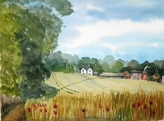 Kent Landscape Original Watercolor Painting Nr Canterbury