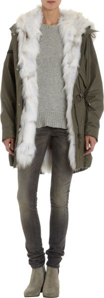 SAM. Green Detachable Fur Lined Hooded Parka - Lyst