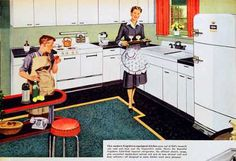 1949 - - - I'm thinking of doing the kitchen in this house (built c with white cabinets and pale green walls. Viking Appliances, Vintage Appliances, Home Appliances, Farmhouse Sink Kitchen, Old Kitchen, Vintage Kitchen, Vintage Advertisements, Vintage Ads, Vintage Signs