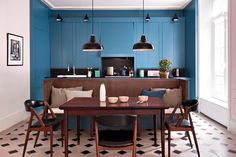 12 proofs that American cuisine is always dreaming - Dining Room Kitchen Floor Plans, Kitchen Flooring, Kitchen Dining, Dining Table, Open Kitchen, Kitchen Tiles, Kitchen Island, Dining Room, Küchen Design