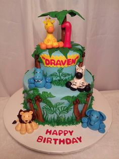 Jungle Theme Birthday Cake..100% edible...By Myrna's Yummy Cakes!