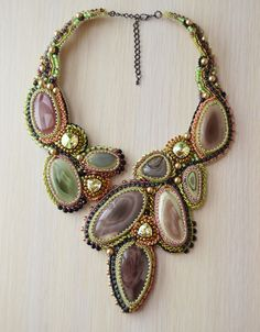 Necklace.Beaded embroidery.Handmade.Imperial Jasper.Necklace embroidered with beads.Jewelry.Jewelry copyright.