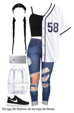 """""""yass"""" by justice-ellis ❤ liked on Polyvore featuring Topshop, H&M, NIKE and AG Adriano Goldschmied"""
