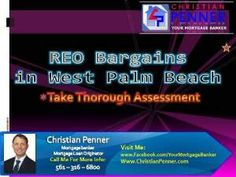 West Palm Beach REO bargains can't help but catch your eye when you're searching through the latest residential offerings. Whether you are a future homeowner or an investor looking for an opportunity that makes financial sense, bargain basement prices are hard to skip past.Check this out: http://www.christianpenner.com/reo-bargains-in-west-palm-beach-take-thorough-assessment/