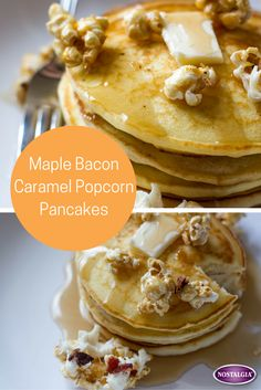 Mix up your normal short stack of pancakes by adding crunchy caramel corn. Fun recipe for autumn.