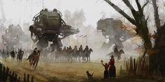 «Марш»  Художник Якуб Розальски (Jakub Rozalski) живет и творит в Гамбурге. Его картины — это настоящее путешествие в мир, где переплетаются прошлое, будущее и фантазия.