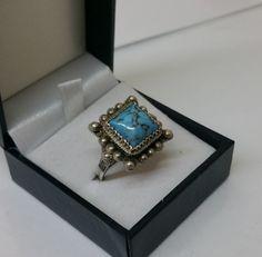 Nostalgischer alter Ring Silber mit Türkis SR722 von Schmuckbaron