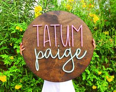 So stylish! I love these wooden signs for a nursery or fun home decor with your family's name. // 24 Inch Round Custom Wood Name Sign / Nursery Decor / Last Name / Business Name / Event Signage / Craft Show Display