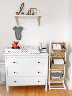 Idea for organization next to the dresser. gotta avoid things on the wall that she can pull down Baby Nursery Decor, Baby Bedroom, Baby Boy Rooms, Nursery Neutral, Baby Boy Nurseries, Baby Decor, Ikea Baby Room, Nursery Room, Girl Nursery