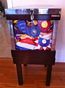 ... horse show ribbons fit beautifully into this fabulous furniture piece