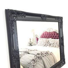 LARGE Black Framed Wall Mirror Bathroom Shabby Chic Nursery Baroque Ornate Custom