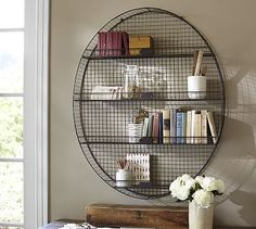 Oval Metal Shelf #potterybarn.   Another option for wall art in bathroom