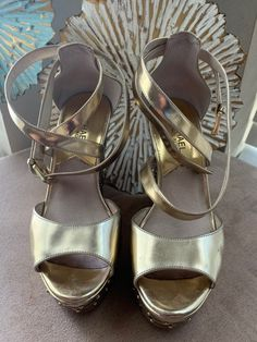 Size 7. Gold. Worn only a few times. Practically new Open to offers! Michael Kors Sandals, Leather Heels, Buy Now, Shoes Sandals, Times, Purses, Gold, Fashion, Handbags