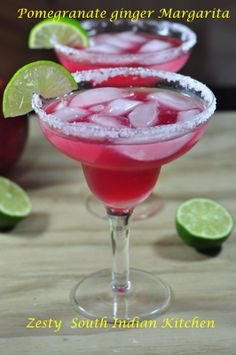 Pomegranate Ginger Margarita, colorful and delicious.