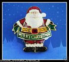VTG HOLIDAY LANE FLASHING LIGHT MERRY CHRISTMAS SANTA CLAUS GLITTER PIN BROOCH