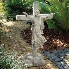 Even the cross can't bring Jesus to his knees. The Design Toscano Ascension - Grande Scale Christ Sculpture is the perfect display of your faith. Outdoor Statues, Garden Statues, Garden Sculptures, Gnome Garden, Lawn And Garden, Garden Fun, Marian Garden, Prayer Garden, Italian Sculptors