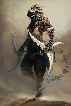 Spass und Spiele — Fantasy warrior concept by Ji Bae Park Arte Ninja, Ninja Kunst, Ninja Art, Fantasy Warrior, Fantasy Rpg, Dark Fantasy, Fantasy Fighter, Fantasy Male, Fantasy Character Design