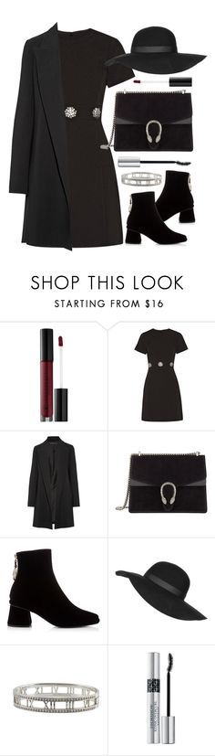 """""""Ready for Your Funeral"""" by angelicachen ❤ liked on Polyvore featuring Anastasia Beverly Hills, MICHAEL Michael Kors, The Row, Gucci, Topshop, Tiffany & Co., Christian Dior, black, blackboots and blackoutfit"""