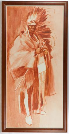 Lot 309: Ned Jacob (American, b.1938) Oil on Board; Undated, signed upper left, depicting a standing Native American Indian
