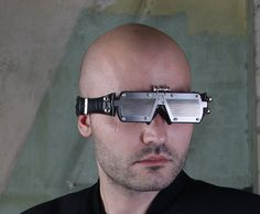 handmade futuristic modern stemapunk eye wear head wear art Hi Tek. $230.00, via Etsy.