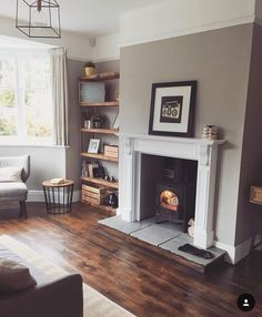 Home Design Drawing Loving the colour of the hardwood flooring Log Burner Living Room, Living Room With Fireplace, Living Room Grey, Home Living Room, Interior Design Living Room, Living Room Designs, 1930s House Interior Living Rooms, Living Room Decor Uk, Cosy Living Rooms