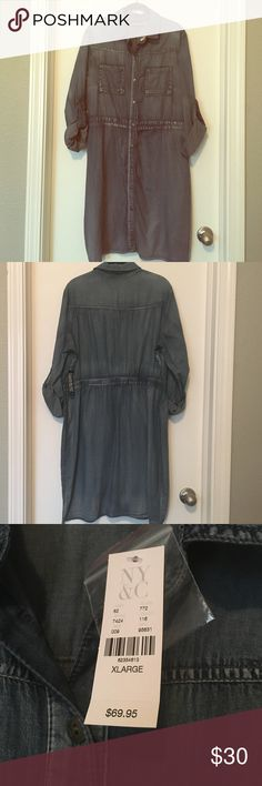 NY & Co Dress Perfect denim, dress to transition into the spring but you can add a scarf & some fun tights and wear it now! Still has tags on. Dresses Long Sleeve