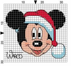 Cross Stitch Christmas Ornaments, Christmas Cross, Valentine Gift Baskets, Valentine Gifts, Cross Stitch Cards, Cross Stitching, Pixel Art Mickey, Mickey Mouse, Plastic Canvas Patterns