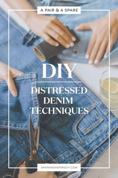 DIY Distressed Denim Techniques Road Tested Every crafter will have put their hand to a touch of distressed denim at some point. Here's my version of the DIY Distressed Denim Techniques Road Tested! Outfit Jeans, Frayed Bottom Jeans, Diy Ripped Jeans, Diy Jeans, Shredded Jeans, Diy Shorts, Distressed Jean Jacket, Diys, Touch