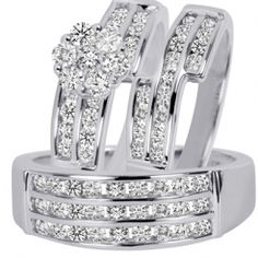 trio wedding ring set