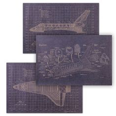 Start planning early with these shuttle blueprints. | 35 Out-Of-This-World Ideas For A Space-Themed Nursery