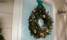 Wreath tutorial: pine cones for autumn, add red jingle bells for Christmas