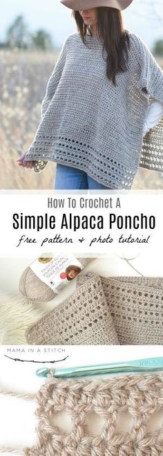 An easy and beautiful poncho crochet pattern that features clean, modern lines and simple stitching. You can see the free pattern as well as a picture tutorial.