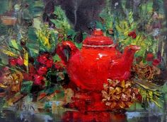 Tea for the Holidays /Workshop Wrap-up, painting by artist Julie Ford Oliver