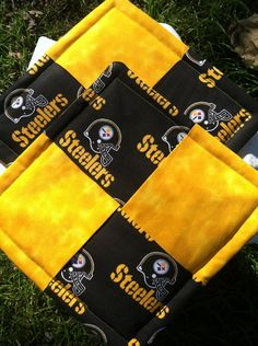 Pittsburgh Steelers Hot pads-Pot holders,Handmade,Quilted, Black, Gold by SMHstitches on Etsy