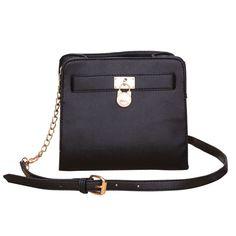 Michael Kors Outlet Hamilton Lock Medium Black Crossbody Bags -save up 70% off michael kors store online !!