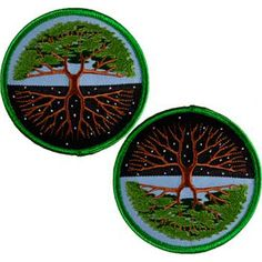 A versatile patch depicting the Tree of Life. Can be displayed to show the Tree in full bloom or turned to display the bare winter branches in starry night. One patch per item ordered. Iron-on. 3""