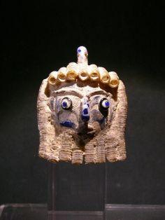 Magnificent Phoenician Glass Head Pendant