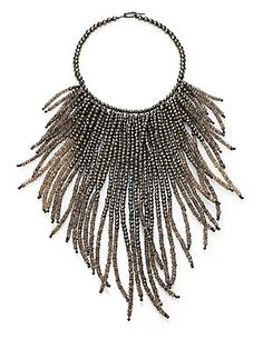"""Beaded Fringe Necklace . A cascading fringe of faceted pyrite and quartz beads defines this elegant silver choker, finished with a simple toggle clasp. •Pyrite, quartz and silver •Length, about 18"""" . SILVER"""