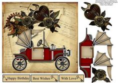 Rose Jalopy Topper with Decoupage on Craftsuprint - Add To Basket!