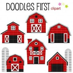 Barn Houses Digital Clip Art for Scrapbooking Card Making Cupcake Toppers Paper Crafts Toddler Crafts, Preschool Crafts, Crafts For Kids, Farm Animal Crafts, Barn Wood Crafts, Art Hub, House Quilts, Farm Theme, Kids Wood