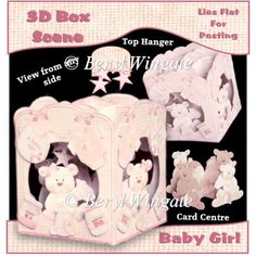 Baby Girl 3D Box Scene - £2.00 : Instant Card Making Downloads