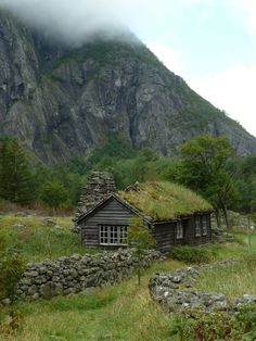 Grass-covered hut in Eidfjord, Norway (by Agios Fonasontas).