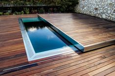 Built-in hot tub / rectangular / / stainless steel CORAL 100 egoe hofreite AMBIENT 400 - Automatic sliding deck pool cover / security / thermal by egoe