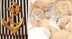 Navy and Gold Wedding decorations. Fabric Flowers