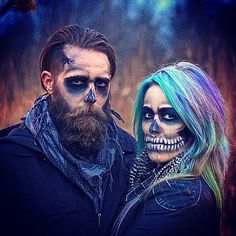 Halloween Skull Makeup rainbow hair scary Sarah Starnes and Adam Vukelich beard