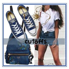 """""""Cut your jeans"""" by dmg555 ❤ liked on Polyvore featuring GUESS, Converse, Anne Klein and DENIMCUTOFFS"""