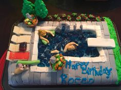 Swimming pool cake I made for my boyfriend.  It's an exact replica of his pool.