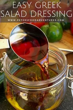Greek Salad Dressing Recipe - Peter's Food Adventures Best Sauce Recipe, Sauce Recipes, Beef Recipes, Yummy Recipes, Family Recipes, Dinner Recipes, Cooking Recipes, Healthy Recipes, Greek Salad Recipes