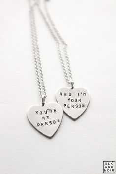 You're My Person Heart Necklace Grey's Anatomy by BLKANDNOIR