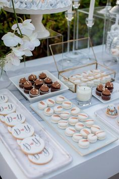 Destination wedding in Athenian Riviera Wedding Desert Table, Wedding Candy Table, Wedding Sweets, Wedding Cakes, Dessert Bar Wedding, Cute Desserts, Party Desserts, Outdoor Dessert Table, Dessert Tables